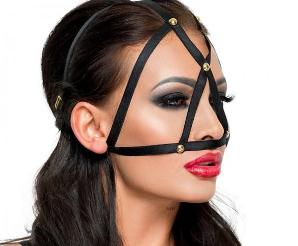 Schwarze Kopfmaske Kostüm Verkleidung Fetisch Maske BDSM Gummi dehnbar OneSize