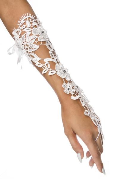 Weiße lange Fingerlose Armstulpen transparent aus Spitze mit Schnürung und Fingerschlaufe