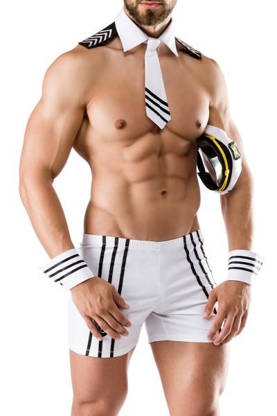 Herren sexy weißes Kapitäns-Kostüm mit Shorts Mütze Kragen Manschetten und Krawatte Roleplay Verklei