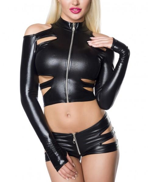 Erotisches Damen Dessous wetlook Set aus Neckholder Top, Hotpants und lange Ärmel in schwarz mit Sch