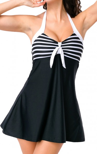 Elastischer Damen Badeanzug Neckholder Swimsuit mit Schleife und Streifen Muster schwarz weiß