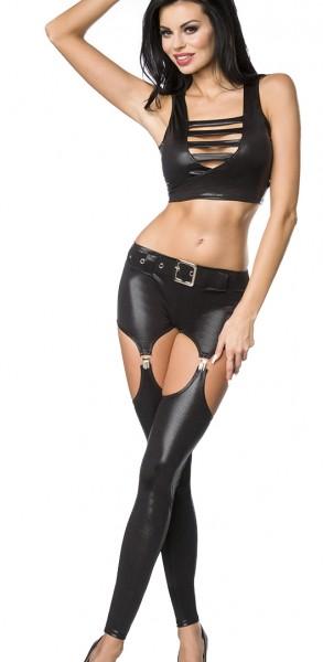 Erotisches Damen Dessous wetlook Set aus bauchfreiem Top, Strapspants und Beinstulpen in schwarz aus