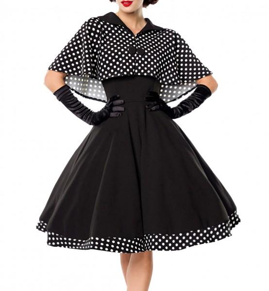 Schwarzes knielanges Swing Kleid im High Waist Schnitt mit Cape und abnehmbar gepunktet und Umlegekr