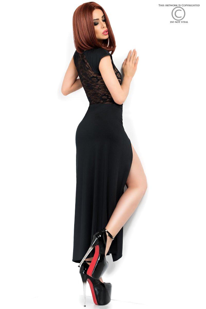 Damen Abend Kleid, schwarz elastisch, Spitzenkleid in ...