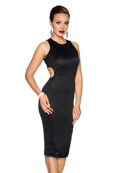 Schwarzes knielanges Cocktailkleid mit gekreuzten Trägern und tiefem Rückenausschnitt