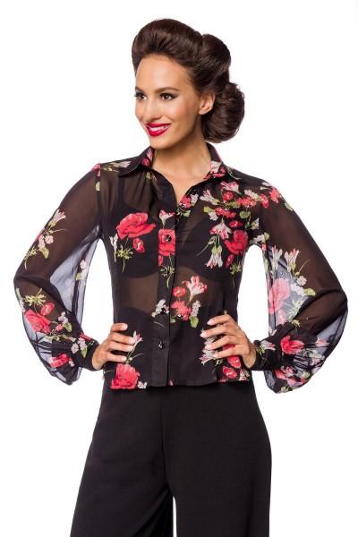 Schwarze kurze Blumenmuster Netz-Bluse mit langen Ärmeln und Umlegekragen transparenter Netzstoff Kn