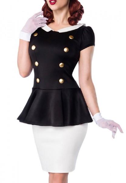 Schößchen Kleid mit weißen Rockteil und Bubikragen goldene Knöpfe Rockabilly Kurzarm Damen Retro
