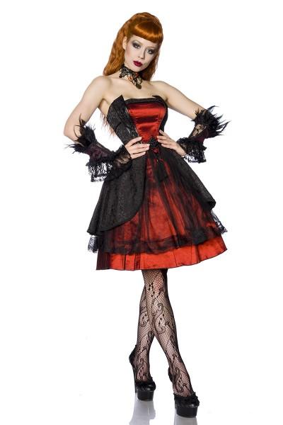 Schwarz rotes Bandeau Gothic Kleid mit Blumenmuster und Spitze
