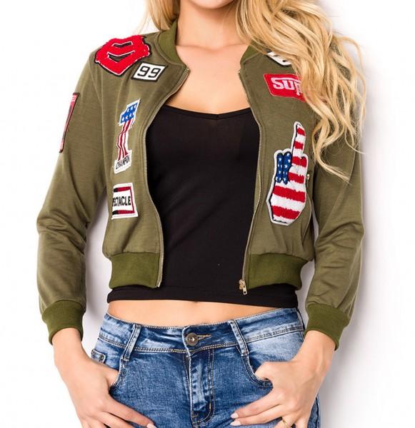 Grüne kurze Damen Blouson Jacke mit langen Ärmeln und aufgenähte Patches Metallreißverschluss vorn b