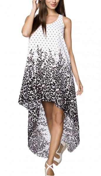 Kurzes Sommerkleid mit Rundhalsausschnitt und Blätterdruck Muster asymmetrisch geschnitten