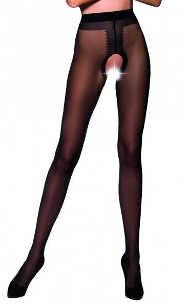 Ouvert Strumpfhose Frauen Dessous in schwarz elastisch transparent im Schritt offen