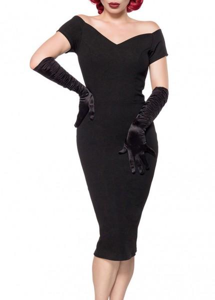 Schwarzes langes Pencilkleid mit V-Ausschnitt Midikleid Knielanges Cocktailkleid Retro Vintage Kleid
