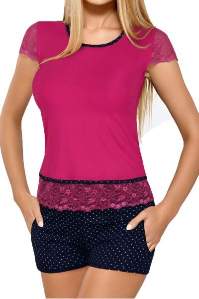 Damen Dessous Pyjama Schlafanzug Set aus Oberteil Shirt und Hose dehnbar mit Spitze fuchsia/dunkelbl