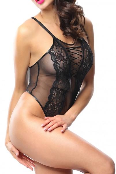 Damen Dessous Body in schwarz Blumenmuster transparent aus Tüll und Spitze Zierschnürung ouvert