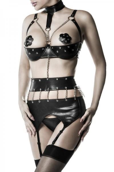 Schwarzes Damen Nieten Strapsset mit Kunstleder Unterbrust BH und String Strapsgürtel Nieten mit Öse