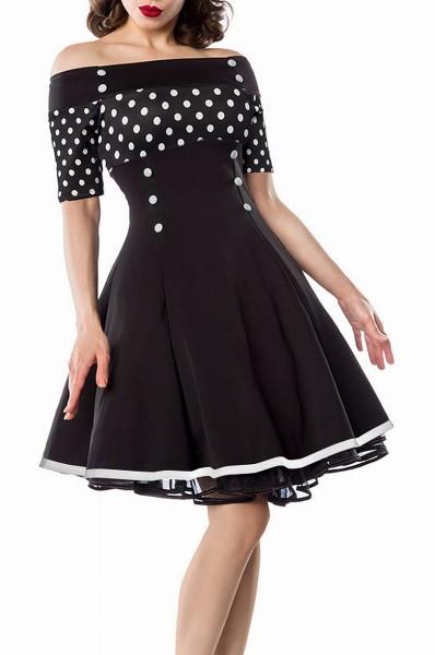 Schwarzes Schulterfreies Damen Vintagekleid mit weiß schwarzen Punkten und weißen Knöpfen im Marine
