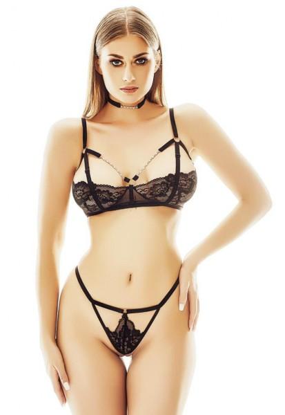 Schwarzes knappes Damen Dessous Set Netz und Spitze transparent Bügel BH und String mit Metallketten