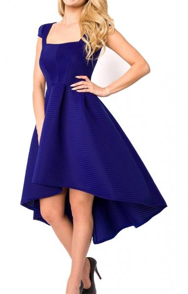 Blaues Sommerkleid knielang mit Carre Ausschnitt, Falten und kurzen Ärmeln elegantes Damen Abendklei
