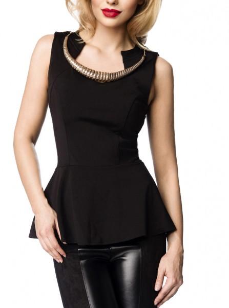 Schwarzes Damen Oberteil mit Schößchen und abnehmbarer goldener Kette elegant geschnitten