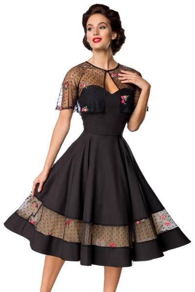 Schwarzes knielanges Swing Kleid im High Waist Schnitt mit Netz und Herz-Ausschnitt transparentes ab