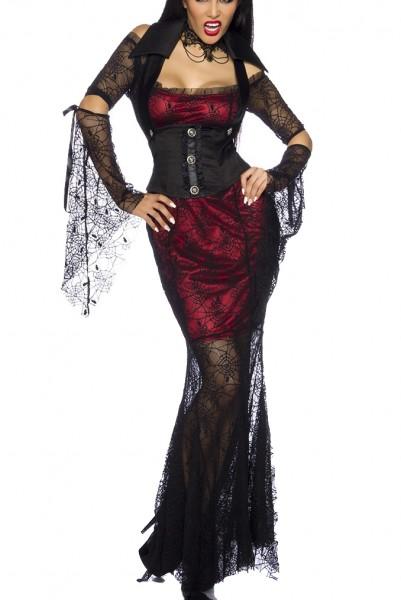 Schwarzes Damen Netz Vampier Kostüm aus Kleid und Weste mit hohem Kragen