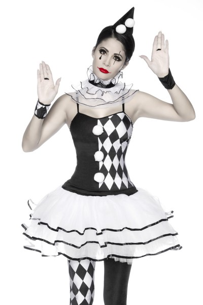 Damen Harlekin Kleid Kostüm Verkleidung mit Hut, Slip, Stulpen, Halskrause aus mit Karo Muster Satin