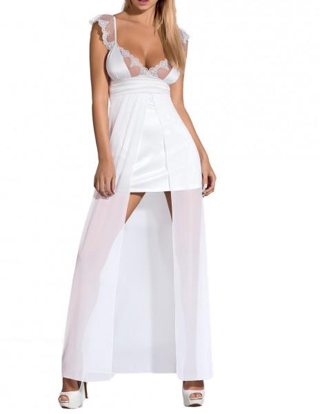 Damen Dessous Gown Nachtkleid mit Spitze inkl. String Dessous Negligee in weiß