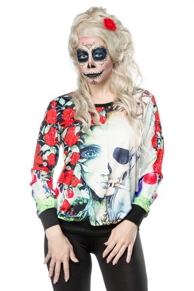 Buntes Damen Geisterkopf Sweatshirt mit Geisterkopf und Rosen Print Sweatshirt Faschingsverkleidung