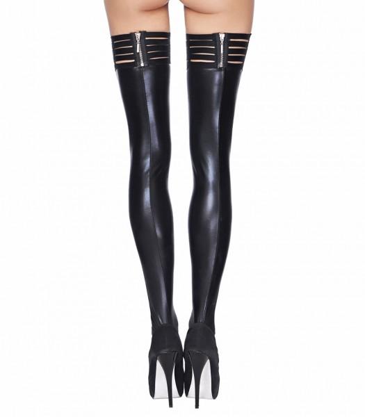 Halterlose schwarze wetlook Strümpfe mit Gummiband und Reißverschluss Damen Dessous Stockings