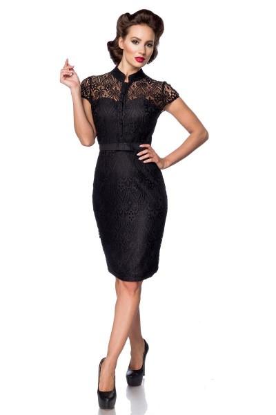 Schwarzes Damen Kleid mit Stehkragen und kurzen Ärmeln mit Spitze teiltransparent elegant geschnitte