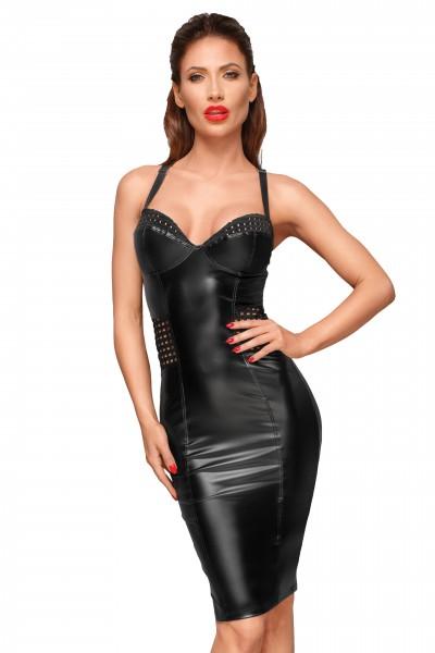 Damen wetlook Kleid schwarz knielang mit elastischen Einsätzen in der Hüfte und Brustbereich