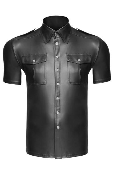 Schwarzes Herren wetlook T-Shirt Hemd glänzend dehnbar mit Knopfleiste und Taschen Männer wetlook He