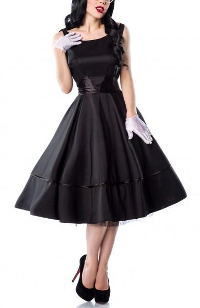 Schwarzes weites Rockabilly Kleid mit Satinschleife zum binden und seitlichem Reißverschluß