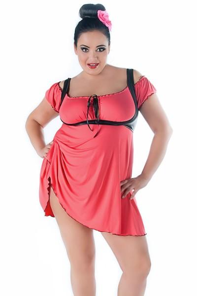Erotische Damen Dessous Chemise in coral schwarz inkl Slip ouvert Nachtkleid weich elastisch
