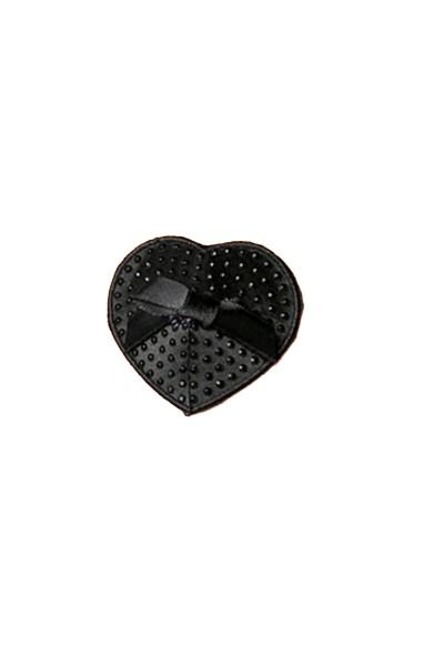 Schwarze Damen Nippel Patch Strass selbsthaftend Herzform mit Schleife 2x