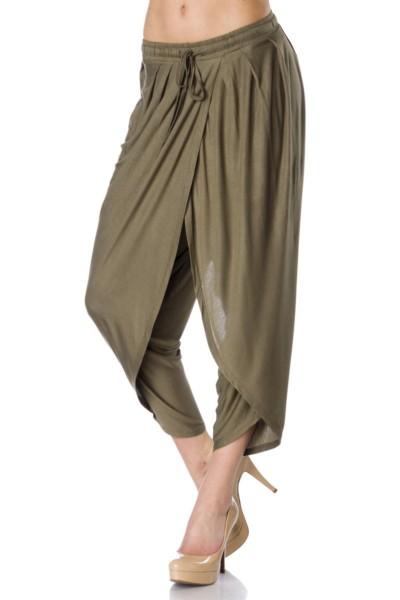 Grüne Haremshose weit geschnitten mit Kordelzug zum Binden Damen Hose weit