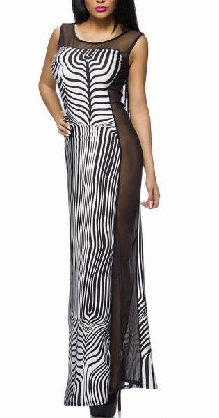Langes Zebra Kleid mit Netz an der Seite gerade geschnitten teiltransparent