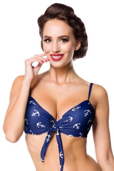 Elastisches Damen Bikinioberteil Bra am Rücken zum binden BH gepolstert und Anker Muster blau weiß t