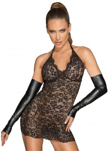 Frauen Neckholder Spitzenkleid mit tiefem Ausschnitt schwarz transparent Damen Negligee Nachtkleid e