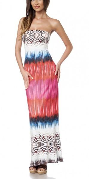 Maxikleid luftig Damen Sommerkleid in bunt mit Muster Streifen-Design Schlauchkleid