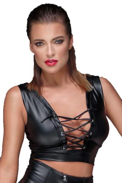 Damen Dessous wetlook Gogo Top in schwarz mit Schnürung rückenfrei