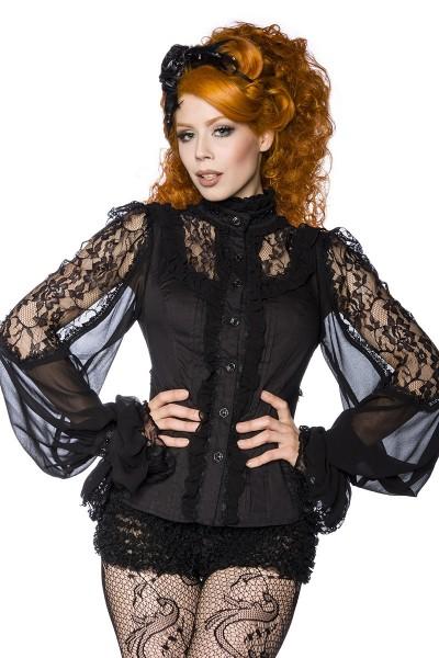 Schwarze transparente Bluse aus Spitze mit Rüschenelementen und schmalem Stehkragen Steampunk Gothic