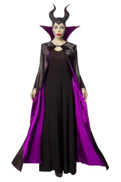 Damen Halloween dunkle Feen Teufel Kostüm aus Cape, Kleid, Kragen, Hörnermaske in schwarz/lila OneSi