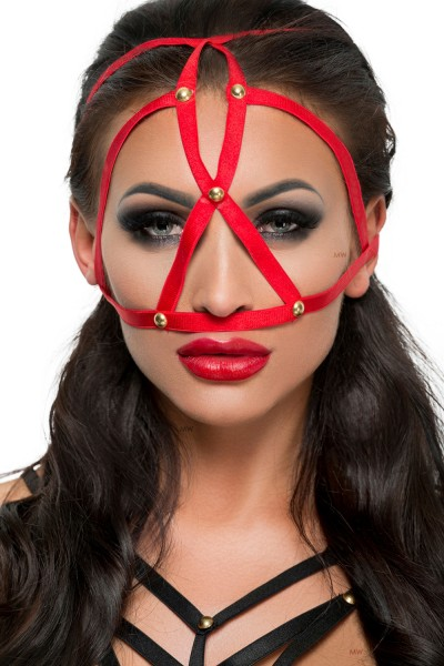 Rote Kopfmaske Kostüm Verkleidung Fetisch Maske BDSM Gummi dehnbar OneSize