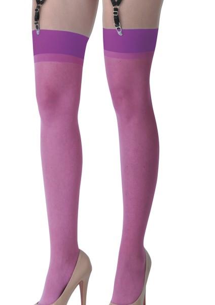 Dessous Straps Strümpfe aus weichem Material und Netz in lila Stockings mit Clip für Strapshalter Bä