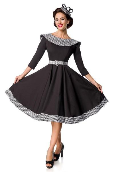 Retro Damen Swingkleid in schwarz mit weißen Hahnentrittmuster Vintagekleid mit dreiviertel Ärmeln u