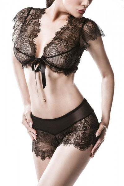 Erotisches Frauen Dessous Spitzen Cami Set Top BH und Panty Slip schwarz transparent aus Tüll und Sp
