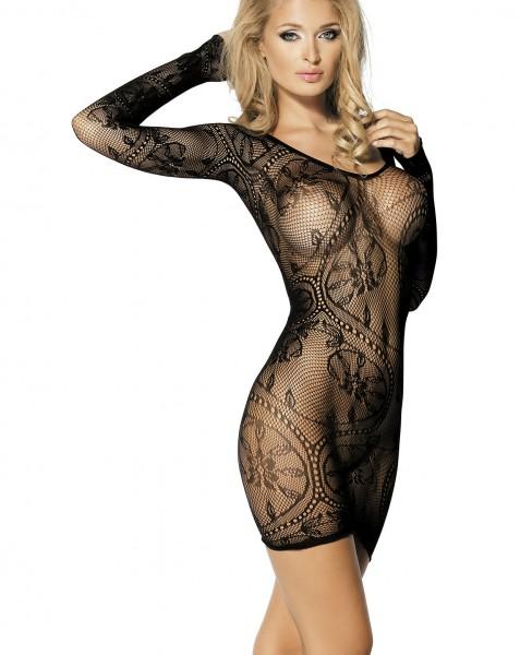 Schwarzes transparentes Minikleid lange Ärmel aus Netz mit offenen Stellen zum durchblicken Blumenmu