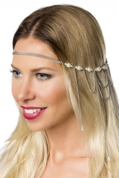 Koppfschmuck Kette mit Perlen und Steinen Kopfkette mit Hakenverschluss in silber OneSize