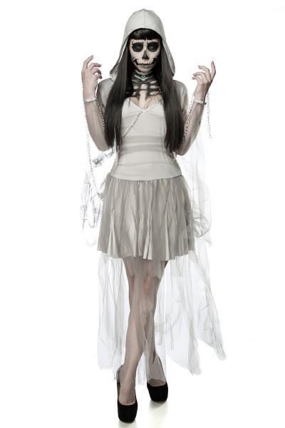 Damen Horror Skelett Geist Kostüm Verkleidung aus Kleid, Kapuze, Kette in grau OneSize XS-M